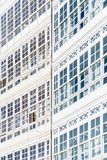 Wooden glazed windows in A Coruna, Galicia, Spain. royalty free stock image