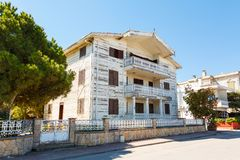 Traditional white wooden houses in Turkish Royalty Free Stock Images