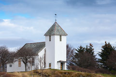 Traditional white wooden Norwegian Church Royalty Free Stock Images