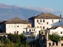 Traditional Whitewashed Albanian Apartment Buildings in Gjirokastra