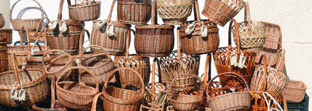 Traditional wicker baskets for sale Stock Images
