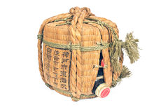 Traditional wicker container of sake Royalty Free Stock Image