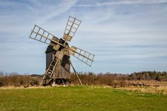Traditional windmill of Öland. A traditional wooden windmill on the Swedish island of Öland royalty free stock photography