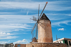 Traditional windmill. The picture shows a traditional windmill in Palma de Majorca, Spain stock images