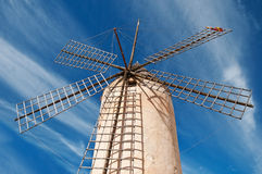 Traditional windmill. The picture shows a traditional windmill in Palma de Majorca, Spain royalty free stock photo