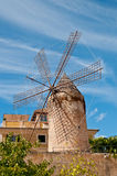 Traditional windmill. The picture shows a traditional windmill in Palma de Majorca, Spain stock photography