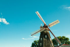 Traditional Windmill. Authentic antique traditional European windmill from Denmark brought to Elk Horn, Iowa, the largest Danish immigrant community in the Royalty Free Stock Image
