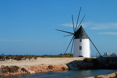 Traditional Windmill. Calcetera windmill, located in the Salinas de San Pedro del Pinatar, Spain Royalty Free Stock Photography