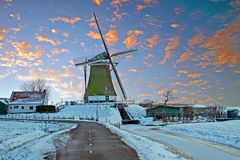 Traditional windmill in the countryside from the Netherlands Royalty Free Stock Image