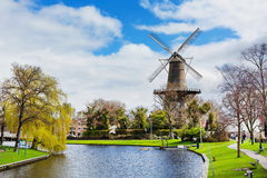 Traditional windmill de Valk in Leiden the Netherlands Royalty Free Stock Images