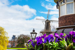 Traditional windmill de Valk in Leiden the Netherlands Royalty Free Stock Photos