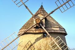 A traditional windmill - detail of the roof Royalty Free Stock Images