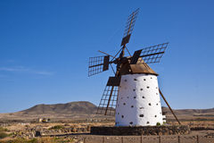 A traditional windmill at the Fuertaventura Stock Photos