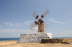 Traditional windmill on Fuerteventura, Spain Royalty Free Stock Images