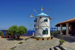 Traditional windmill - Zakynthos Island, landmark attraction in Greece Stock Photos