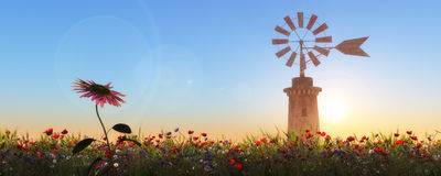 Traditional windmill in Mallorca, Balearic Islands. Spain Royalty Free Stock Photos