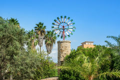 Traditional windmill of Mallorca. Travel background Royalty Free Stock Photo