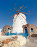 Traditional windmill of Oia, Santorini, on a sunny day Royalty Free Stock Image