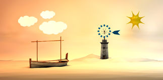 Traditional windmill and traditional boat Stock Photo