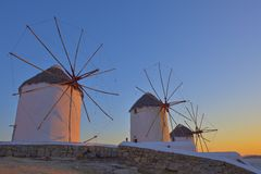 Traditional windmill at twilight Royalty Free Stock Image