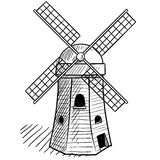 Traditional windmill vector Royalty Free Stock Image