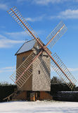 Traditional windmill in winter. Image during the winter of a traditional wooden windmill in France in the Eure &Loir Valley region.This is Pelard's mill Royalty Free Stock Images