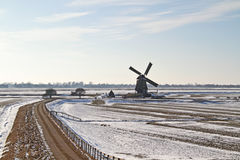 Traditional windmill in winter in the Netherlands Royalty Free Stock Photography