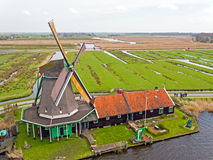 Traditional windmill at Zaanse Schans in the Netherlands Royalty Free Stock Photography