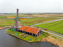 Traditional windmill at Zaanse Schans in the Netherlands Stock Images