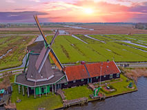 Traditional windmill at Zaanse Schans in the Netherlands Stock Photography