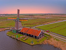 Traditional windmill at Zaanse Schans in the Netherlands Royalty Free Stock Photo