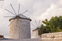 Traditional windmills in Alacati, Izmir province, Turkey Royalty Free Stock Photo