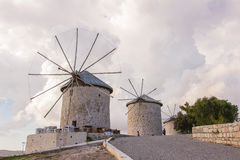 Traditional windmills in Alacati, Izmir province, Turkey Stock Images