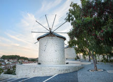 Traditional windmills in Alacati, Izmir province. Turkey Stock Photos