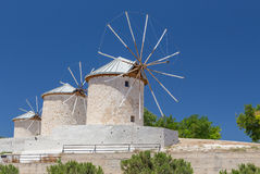 Traditional windmills in Alacati, Izmir province, Turkey Royalty Free Stock Image