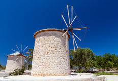 Traditional windmills in Alacati, Izmir province, Turkey Stock Photo