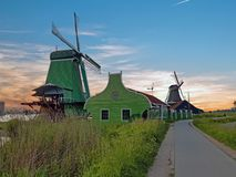Traditional windmills in the countryside from the Netherlands at royalty free stock photography
