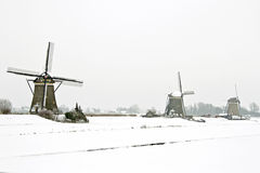 Traditional windmills in the countryside from the Netherlands in Stock Photo