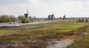 Traditional windmills in the Dutch wetlands Stock Photo