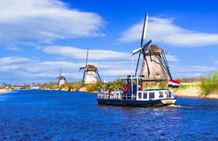 Travel in Netherlands . Traditional Holland - Windmills in Kinde Royalty Free Stock Images