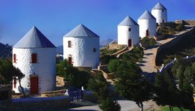 Traditional windmills on Leros Island Greece Royalty Free Stock Photo