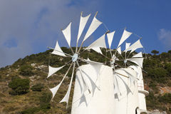 Traditional windmills near Lasithi plateau. Crete. Greece Stock Photo
