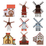 Traditional windmills and water mills Royalty Free Stock Photo