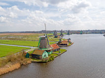 Traditional windmills at Zaanse Schans in the Netherlands Stock Photography