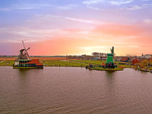 Traditional windmills at Zaanse Schans in the Netherlands Stock Photo