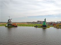 Traditional windmills at Zaanse Schans in the Netherlands Royalty Free Stock Photo