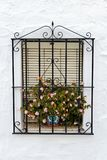 Window with iron rails and flower pot in a traditional white village in Andalusia, Spain. Traditional window guarded by iron rails and decorated with flower Stock Images