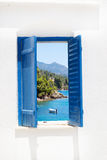 Traditional window with sea view at Halkidiki peninsula. Greece Stock Image
