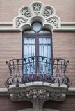 Traditional window in Spain wit stucco decoration. Traditional window and balcony in Spain wit stucco decoration and plaster royalty free stock image