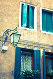 Traditional window of typical old Venice building Stock Photos